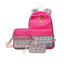 Morrivoe Women Bag 3pcs Canvas 14 inch Laptop Backpack Shoulder Bag Pencil Case Travel Rucksack Daypack Schoolbag for Girls