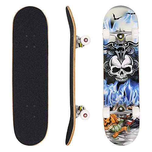 Skull 2 Complete Skateboard - Yiilove Aluminum Scooter Foldable Kick Scooter 2 Wheel Adjustable Height Mini Kick Scooter with LED Light Up Wheels for Boys and Girls Kids Toddler (Type2 - Skull Head)