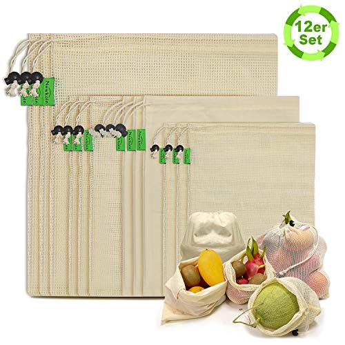 Reusable Produce Bags - Organic Cotton Mesh Produce Bags ECO-Friendly Grocery Bags with Tare weight, 4 Sizes 12 Packs Lightweight Machine Washable Merchandise Bags with Organizing Drawstring