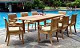 Cheap New 9 Pc Luxurious Grade-A Teak Dining Set – 117″ Double Extension Rectangle Table 8 Giva Arm / Captain Chairs #WHDSGVe