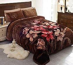 JML 10 Pounds Heavy Plush Soft Blankets for Winter, Korean Style Mink Velvet Fleece Blanket - 2 Ply A&B Printed Raschel Bed Blanket