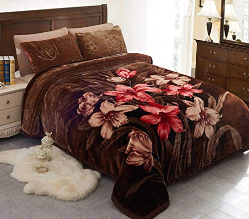 "JML Fleece Blanket, Plush Blanket King Size 85"" x 93"", 10 Pounds Heavy Korean Style Mink Blanket - Silky Soft and Warm, 2 Ply A&B Printed Raschel Bed Blanket, Brown Rose"