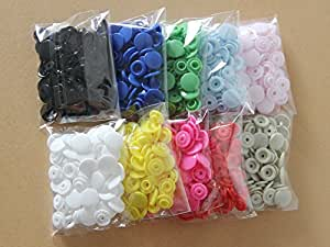 200 Sets KAM 10 Mixed Color Size 20 T5 Plastic Resin Snaps Buttons USA Delivery