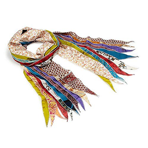 (Lot of 2 - Indian Sari Patches Reversible Scarf, Colorful Striped Scarf - Assorted Colors....