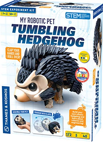 Thames & Kosmos My Robotic Pet - Tumbling Hedgehog Science Experiment & Model Building Kit, Build Your Own Sound Activated Tumbling, Rolling, Scurrying Pet Hedgehog