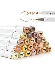 Ohuhu Alcohol Markers, Ohuhu Dual Tip, Brush & Chisel, Sketch Marker Set for Kids, Artist, Alcohol Brush Markers Bonus 1 Blender for Sketching, Adult Coloring, Calligraphy and Illustration Markers,