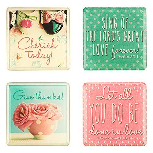 "Retro Pink ""Life is Beautiful"" Inspirational Fridge Magnet Set (4)"