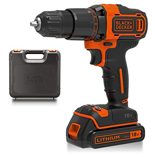 BLACK+DECKER 18V Cordless 2-Gear Hammer Drill with Kitbox and 1.5Ah Lithium Ion...