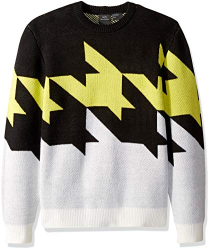 (A|X Armani Exchange Men's Zoom Houndstooth Sweater, Black/Limeade/White, XXL)