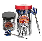 Bullseye Steel Tip Darts Bundle - 24 Pack of 21g Metal Tip Darts Plus Dart Accessory Kit with 7 Essential Accessories Skill Levels
