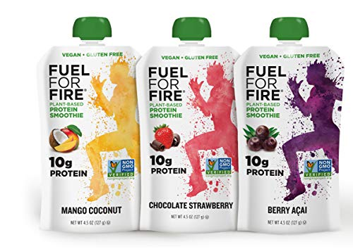Fuel For Fire - Vegan Variety (9 Pack) Fruit & Plant-based Protein Smoothie Squeeze Pouch   Great for Workouts, Kids, Snacking - Gluten-Free, Soy-Free, Kosher, No Added Sugar (4.5 ounce pouches) ()