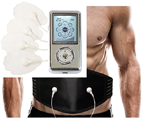 Best 8 Mode Rechargeable Personal Electric Impulse Massager Great Abdominal Toner Belt+Weight Loss Belly Burning Waist Belt Plus FDA CLEARED HealthmateForever (Sliver) SJ8MAB LIFETIME WARRANTY