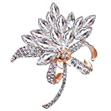 MUZHE Vintage Rhinestone Orchid Flower Crystal Brooch Pin Bowtie Wedding Jewelry (White)