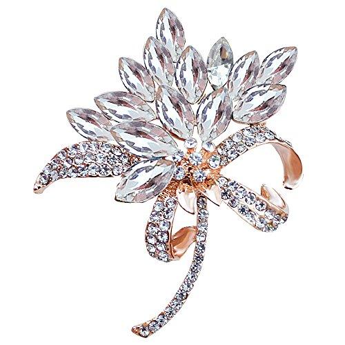 MUZHE Vintage Rhinestone Orchid Flower Crystal Brooch Pin Bowtie Wedding Jewelry (White) by MUZHE