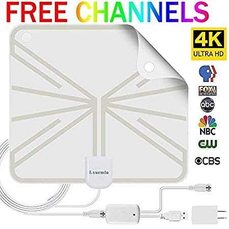 HDTV Antenna Indoor Digital TV Antenna, 50 Miles Range HD Antenna with Detachable Amplifier Signal Booster and 13FT Coaxial Cable Lxuemlu
