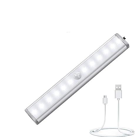 Luz Del Armario Pegarse en Cualquier Lugar, LED Armario con Sensor Movimiento, Tira de Armario Recargable con 4 Modos, para Guardarropa, Armario, ...
