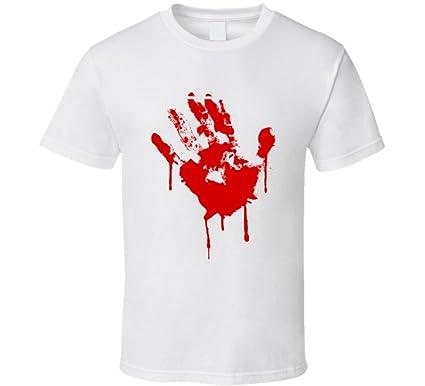9f71e36b SillyTeesExpress Bloody Hand Print T Shirt | Amazon.com