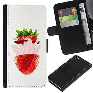 Stuss Case / Funda Carcasa PU de Cuero - Strawberry Flavor Burst Verano Rojo - Apple Iphone 6