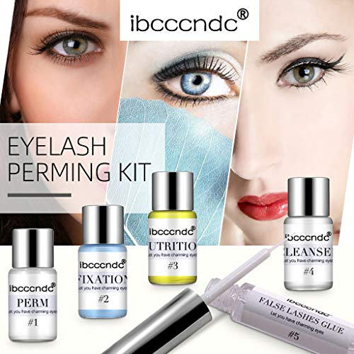 Flurries ❦  ❦ Eyelash Perming Kit, Eyelash Extensions Set, Semi-Permanent Lash Lifts Curling Wave and Nutritious Growth Treatments for Both Home & Salon Professional Use (Clear) (Best Way To Clean Glue Off False Eyelashes)