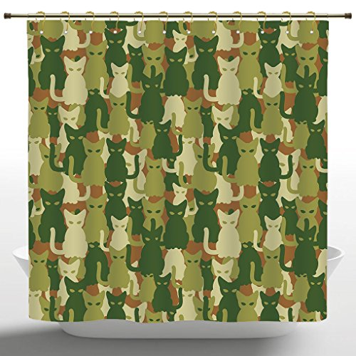 Decorative Shower Curtain by iPrint,Camo,Soldier Kittens Protective Cat Army Theme Defense Jungle Colors Military,Green Dark Green Cream,Waterproof Bathroom Shower Curtains ()