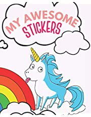 My Awesome Stickers: Blank Sticker Book for Collecting Stickers | Reusable Sticker Collection Album for Kids - Unicorn Cover