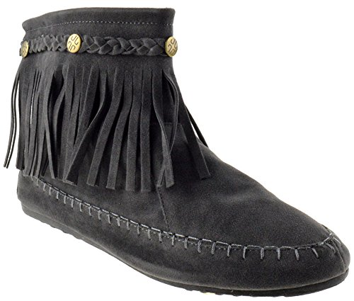 Lucita TG 01 Fringe Moccasin Ankle Boots Grey 10