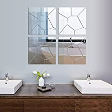 28PCS 3D Wall Decal Acrylic Modern Mirror Art Mural Wall Sticker For Home Living Room Bedroom Decoration (3030CM, Silver)