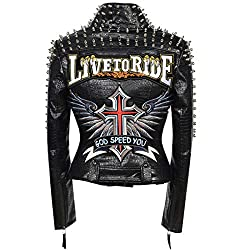Faux Leather PU Black Jacket With Cross 2 Design & Studded Rivet