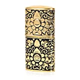Pure Copper Engraving Flower Antique Style Flint Wheel Oil Petrol Lighter (Gold & Black)