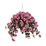 House of Silk Flowers Artificial Watermelon Bougainvillea in Cone Hanging Basket