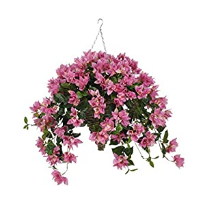 House of Silk Flowers Artificial Orchid Pink Bougainvillea in Cone Hanging Basket 6