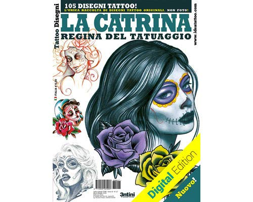 La Catrina Day of The Dead Skull Women 2 Tattoo Flash Design Book 64-Pages -