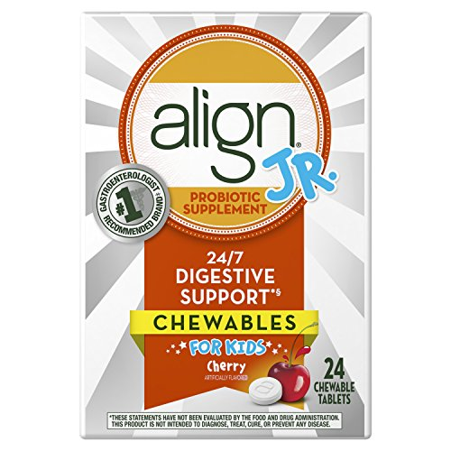 Align Jr. Chewables for Children, Daily Probiotic Supplement for Kids Digestive Health, Cherry Smoothie Flavor, 24 count, #1 Recommended Probiotic by Brand by Doctors