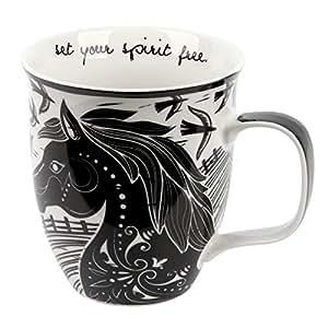 Karma Gifts Boho Black and White Mug, Horse