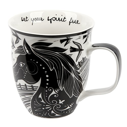 Karma Gifts Boho Black and White Mug, Horse