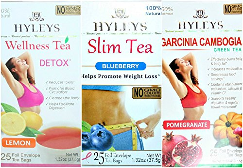 Hyleys 100 Natural Tea Lemon Detox Slim Tea Blueberry And