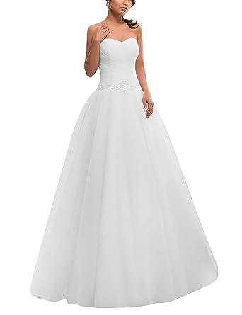 VKStar® Robe Bustier Femme Mariage Longue Robe de Mariée Princesse Tulle Robe de Mariage Femme Col V Elégante