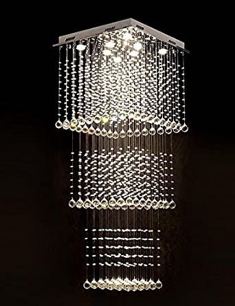 moooni modern crystal chandelier lighting raindrop square ceiling light fixture for staircase porch hallway w23 - Modern Crystal Chandeliers
