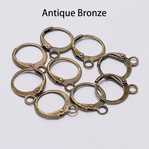 20pcs/lot 1412mm Silver Gold Bronze French Lever Earring Hooks Wire Settings Base Hoops Earrings For DIY Jewelry Making Supplie (Kc Designs Diamond Stud)