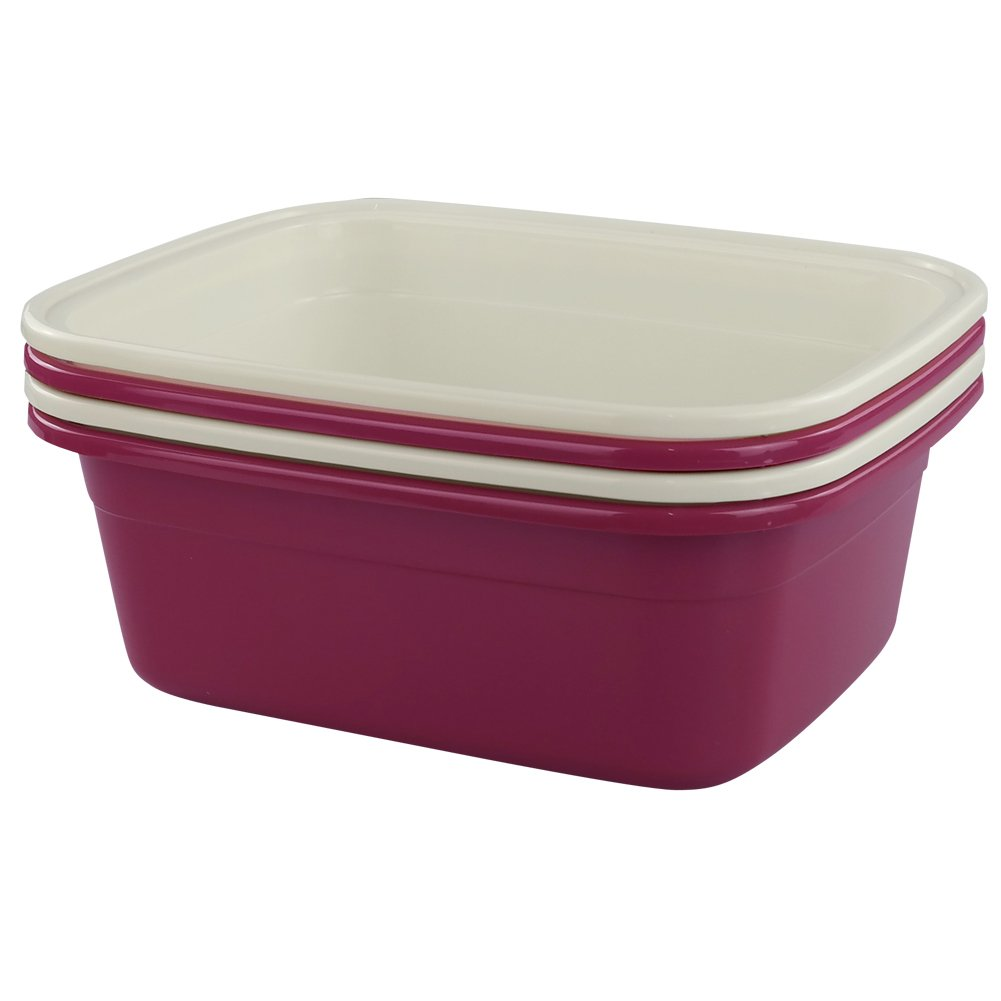 Cadine Plastic Rectangular Washing Up Bowl Basin, Pack of 4 Cadiners