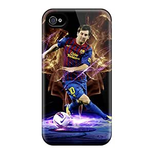 Customcases88 Apple Iphone 4/4s Anti-Scratch Hard Cell-phone Cases Support Personal Customs HD The Forward Of Barcelona Lionel Messi In Dark Background Pictures [tvG1262vHlW]