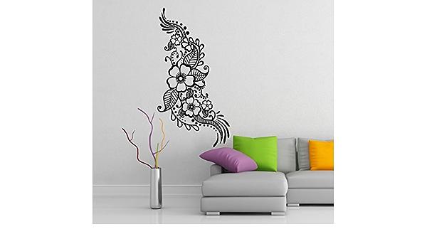 Slaf Ltd 16 X 31 Vinyl Wall Decal Henna Pattern With Flowers Tattoo Design Art Decor Sticker Indian Mehandi Removable Mural Free Random Decal Gift Home Kitchen Amazon Com
