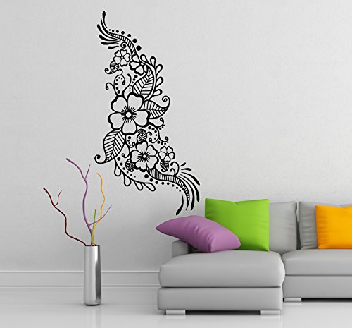 ( 14'' x 28'') Vinyl Wall Decal Henna Pattern with Flowers / Tattoo Design Art Decor Sticker / Indian Mehandi Removable Mural + Free Random Decal Gift!
