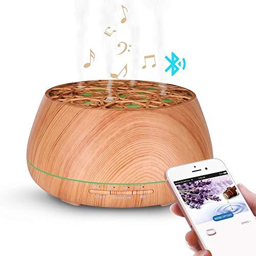 OIPIYUT Blautooth-Lautsprecher Luftbefeuchter für Aromatherapie ätherisches Öl 7 Farbe LED-Licht Luftbefeuchter S