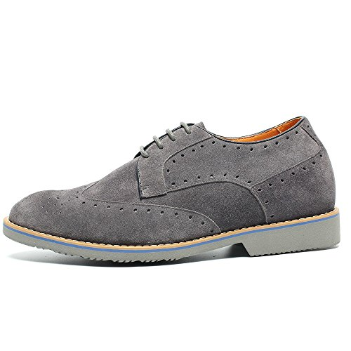 CHAMARIPA Zapatos Brogues Gamuza para Hombre para ser 7 cm más alto - L61C20K013D Gris