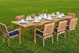 "New 9 Pc Luxurious Grade-A Teak Dining Set -94"" Rectangle Table And 8 Stacking Leveb Arm Chairs #WHDSLVd"