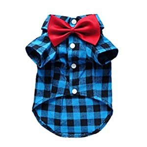 HOODDEAL Soft Casual Dog Red And Black Plaid Shirt Gentle Dog Western Shirt Dog Clothes Dog Cotton Shirt + Dog Wedding Tie,Blue ( Large )