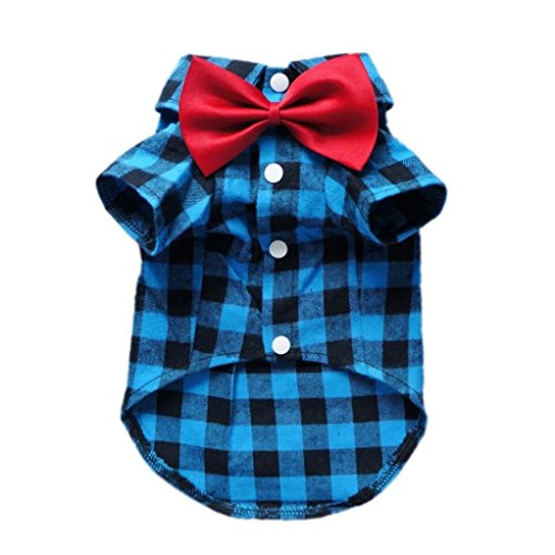 HOODDEAL Soft Casual Dog Blue and Black Plaid Shirt Gentle Dog Western Shirt Dog Clothes Dog Cotton Shirt + Dog Wedding Tie,Blue (Small) ()