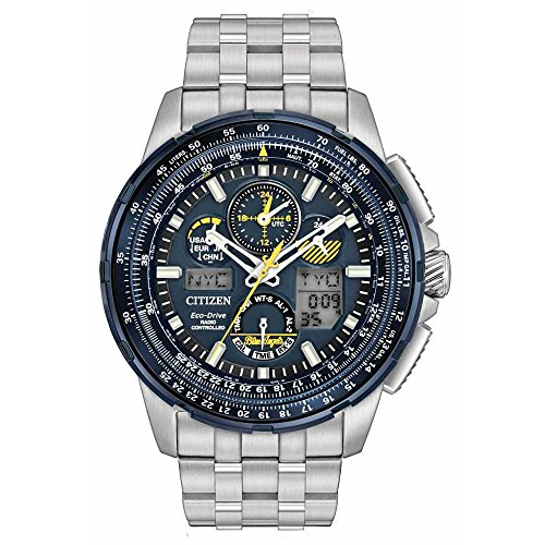 Citizen-JY8058-50L-Mens-Stainless-Steel-Silver-Bracelet-Band-Blue-Dial-Smart-Watch