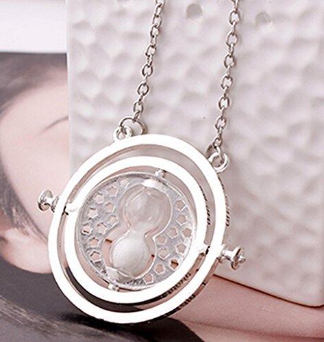 Price comparison product image Alvak Women Men Hourglass Necklace Time Tuner Film Necklace Silver White(HDM05)